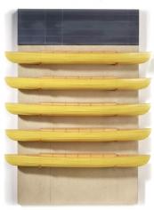 RUDDELL-David_Five Yellow boats-Black Board_58x43x9