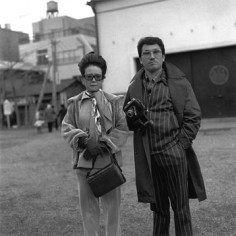 """A couple with vintage camera, 1974,  Gelatin Silver Print, image 14 x 14"""" / paper 16 x 20"""", Signed, titled, editioned and dated in pencil on verso, Edition of 20"""