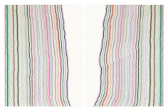 Chiral Lines 12, 2015. Graphite, marker, ballpoint, colored pencil on paper. Each: 50 x 38 inches, overall: 50 x 76 inches