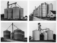 Grain Elevators, Bins, 1978-82, 12.5 x 16 inch 8 Gelatin Silver Prints, Initialed 'BHB' and numbered '20' and numbered sequentially by photographers in pencil, the first inscribed with a sequence map, on the reverse. Each ferrotyped and mounted. Printed in 1985, Becher Typologies, p. 85