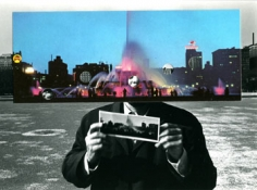 Postcard Visit, Chicago, 1969, (69-35-15-13), 4.75 x 6 inch vintage gelatin silver print and postcard collage, Signed, titled, dated and editioned on verso, Edition 6/30
