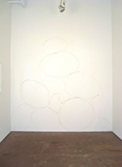 Fruit Basket Upset, 2007, Site-specific wall drawing, Fruit stickers and archival tape, 103 x 110 inches
