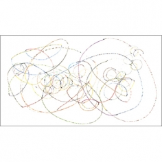 Fruit Bowl IV, 2008, Produce Stickers and archival tape on paper, 44.25 x 79.5 inches, Signed, titled and dated on verso