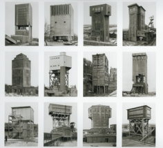 "Bernd and Hilla Becher, ""Winding Towers,"" 1966-1989/2004, Typology of 12 Gelatin Silver prints, Image size 15 1/2 x 11 1/2 inches each,  Overall size 68 1/2 x 76 inches each, Unique"