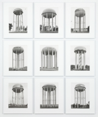 "Bernd and Hilla Becher, ""Water Towers (USA Kugel unten Offen),"" 2010, Typology of 9 Gelatin Silver prints, Image size 15 3/4 x 11 1/4 inches each, Overall size 68 1/2 x 56 1/2 inches, Unique"