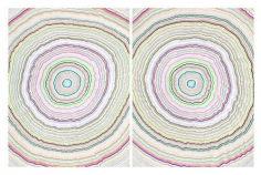 Chiral Circles 1, 2015. Graphite, marker, ballpoint, colored pencil on paper. Each: 50 x 38 inches, overall: 50 x 76 inches