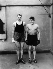 August Sander, Boxers, 1928, image 10.25 x 6.5 inches/mount 17.25 x 13.25 inches, Gelatin Silver Print, Signed on verso by Gerd Sander, estate stamp also on verso, Edition 4/12, Illustrated: August Sander - Citizens of the Twentieth Century, pg. 85
