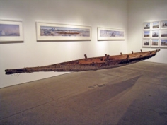 Schlangboot (Snakeboat), 2006, 7 x 19.5 x 192 inch salted anaconda skin boat with notegeld lining, Unique