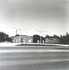 Ed Ruscha, Fina, Groom, Texas, from Five Views from the Panhandle, 1962/2007, Suite of 5 7.5 x 7.5 inch Gelatin silver prints, Signed and editioned on the colophon page in linen clamshell case with silver embossing