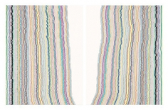Chiral Lines 9 (BC), 2015. Graphite, marker, ballpoint, colored pencil on paper. Each: 28.5 x 22.5 inches, overall: 28.5 x 45 inches