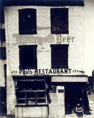Walker Evans, Paul's Restaurant, 1933, 7 x 6 inch Vintage gelatin silver print, Signed and dated on the recto, copyright of the artist, not for reproduction.