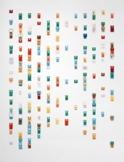 Daily Bread, 2004, Calendar of bread tags arranged by sell-by date, 38 x 28 inches