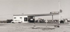 "Ed Ruscha, ""Union- Needles, CA,"" 1962/1989, from the ""Gasoline Stations"" portfolio, Gelatin Silver print mounted on board, 19 1/2 x 23 inches, Edition of 25"