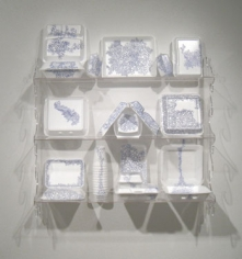 China Cabinet, 2009, Ballpoint ink on Styrofoam, Plexiglas shelf, 36 x 36 x 23 inches