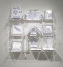 China Cabinet, 2009, Ballpoint ink on Styrofoam, Plexiglas shelf, 36 x 36 x 23 inches
