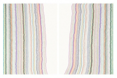 Chiral Lines 8, 2015. Graphite, marker, ballpoint, colored pencil on paper. Each: 50 x 38 inches, overall: 50 x 76 inches