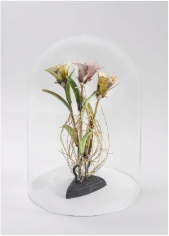 Karin Broker  three small girls, one sad iron, 2018  3 wired metal flowers with crystals, antique iron, glass dome, marble pedestal  10 x 5 x 4 inches Inquire