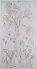 Karin Broker  #10 eh what?, 2015 - 2018  paper, silverpoint ground letters, screen printing  37.5 x 72 inches  Inquire