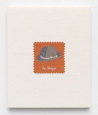 Elaine Reichek,  Swatch, Magritte, 2006,  digital embroidery on linen,  12 x 10 inches,  edition of 3