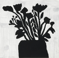 Donald Baechler Black Flowers, 2009 9-color screenprint with flocking 58 x 58 inches Edition 19 of 50 (DB-50)