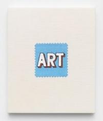 Elaine Reichek,  Swatch, Lichtenstein (Blue), 2006,  digital embroidery on linen,  12 x 10 inches,  edition of 3