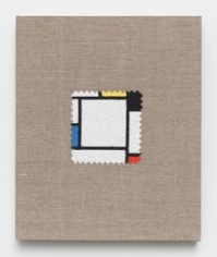 Elaine Reichek,  Swatch, Mondrian, 2012,  digital embroidery on linen,  12 x 10 inches,  edition of 3