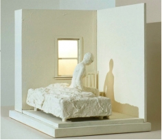 George Segal  Woman Sitting on Bed, 1996  copper, bronze, wood, plexi, electric light (white patina)  21 x 16 x 25 1/2 inches  edition of 30  $35,000  Inquire