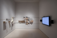 Jeff Shore | Jon Fisher  Cliff Hanger, 2009  wood, wires, motor, cameras, computer and mixed media  dimensions variable