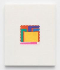 Elaine Reichek, Swatch, Halley, 2006, digital embroidery on linen, 12 x 10 inches, Edition 2 of 3