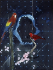 Damien Hirst  Red Bird and Parrot with Shark Jaw, 2012  lithograph on 250gsm Naturalis paper  19 1/2 x 15 inches  Edition of 75  $5,000