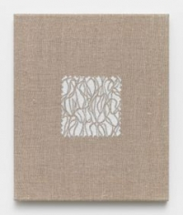 Elaine Reichek,  Swatch, Marden, 2012,  digital embroidery on linen,  12 x 10 inches,  edition of 3