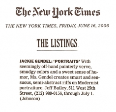 The Listings: Jackie Gendel: Portraits