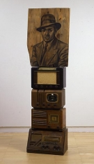 Lenox, 2008 Conte crayon on wood, radios