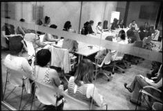 Staff meeting, non-profit legal services provider for indigent women, Wall Street area, September 11, 2013, Gelatin silver print