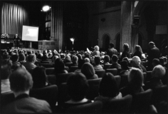 Town hall meeting re: Theodore Roosevelt Park, Fourth Universalist Society, October 6, 2015, Gelatin silver print