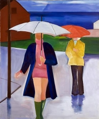 Two Women and Umbrellas