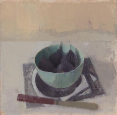 Four Figs in a Turquoise Cup with Red-Handled Knife