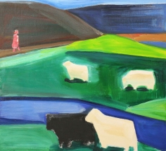Four Sheep and Girl in Icelandic Landscape,