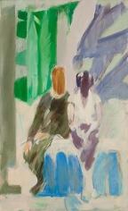 Daniel Brustlein Self Portrait with Biala in Blue