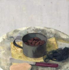 Nuts in a Tin Cup with Red-Handled Knife, Stone and Black Ribbon