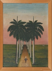 Gregorio Valdes Path Through Palm Trees, Figure in Foreground