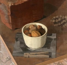 Nuts in a White Cup with Brick, Pine Cone, Xerox and Clothespin