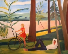 Maine, Girl with Bicycle and Recumbent Man