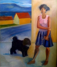 Self Portrait with Hat, House and Mischka