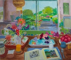 NELL BLAINE Summer Interior with Book