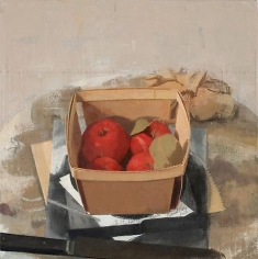 Small Red Apples in a Berry Box with Knife and Scrunchie