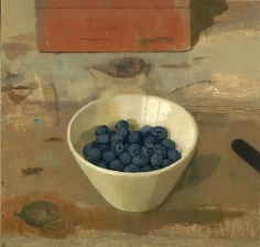 Blueberries in a Bowl with Brick and Knife
