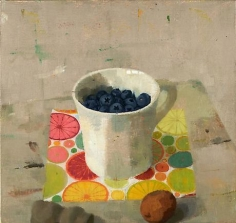 Blueberries in a White Cup with Dried Lemon and Bone Fragment
