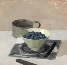 Blueberries in a Bowl with Tin Cup and Knife