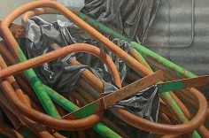 Stanchions 2006 egg tempera on panel